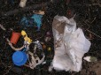 Plastic waste on a UK beach