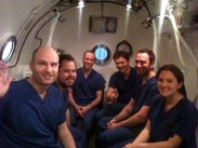 Picture of group inside a decompression chamber