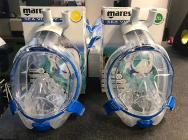 Snorkelling masks converted for CPAP oxygen delivery