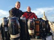 Trevor Leyland (left) of Rebreathers UK training with Hollis Prism 2